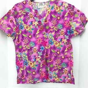 Crest Scrub Top Small Pink With Multi Color Flower